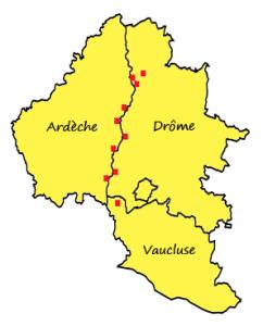 Carte des barrages où intervient ARNAUD TPPL